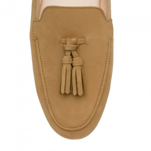 Brown leather moccasins shoes for men