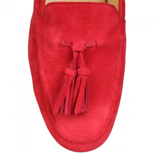 Red rumbo moccasins shoes for mens