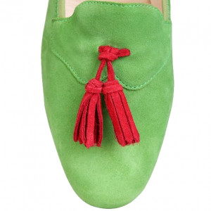 Square toe green shoes for men