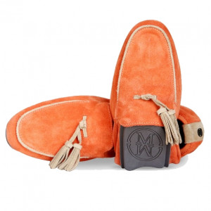 Men moccasin orange shoes