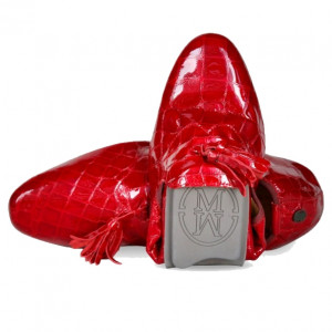 Red leather loafer shoes for mens
